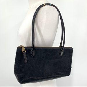 HOBO Black Calf Hair and Leather Shoulder Bag